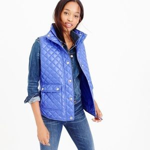 J. Crew Quilted Shiny Blue Vest